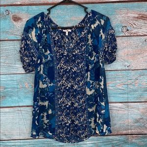 Joie Blue Floral Blouse Size Small Buttons